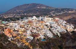 View of Fira at sunset on Santorini island, Greece Stock Images