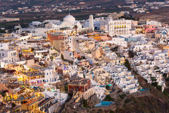 View of Fira at sunset on Santorini island, Greece.  Stock Photo