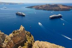 View from Fira to caldera sea, Santorini Royalty Free Stock Photo