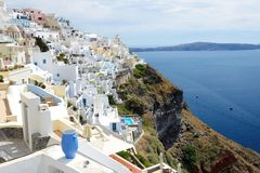 The view on Fira town and Aegean sea Royalty Free Stock Image
