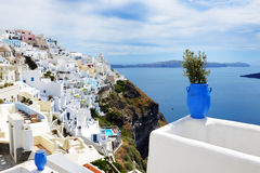 The view on Fira town and Aegean sea Stock Images