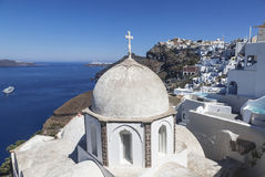 The view on Fira town and the Orthodox Church of St. John, Santorini, Stock Images