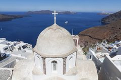 The view on Fira town and the Orthodox Church of St. John, Santorini, Royalty Free Stock Photography