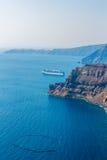 View of Fira town - Santorini island,Crete,Greece. Beautiful bay Royalty Free Stock Photos