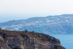 View of Fira town - Santorini island,Crete,Greece. Beautiful bay with clear blue sky and sea Stock Photography