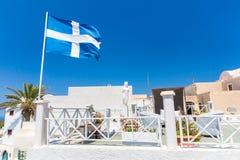 View of Fira town - Santorini island,Crete,Greece. White concrete staircases leading down to beautiful bay Royalty Free Stock Photos