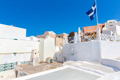 View of Fira town - Santorini island,Crete,Greece. White concrete staircases Stock Photography