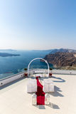 View of Fira town - Santorini island,Crete,Greece. White concrete staircases Royalty Free Stock Photography