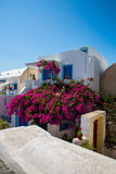 View of Fira town - Santorini island,Crete,Greece. White concrete staircases leading down to beautiful bay with clear blue sky and Stock Photography