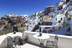 View of Fira town from the terrace cafe, Santorini Stock Photos
