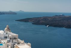 View from Fira. In Santorini royalty free stock image