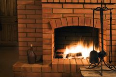 View on a fireplace Stock Photos