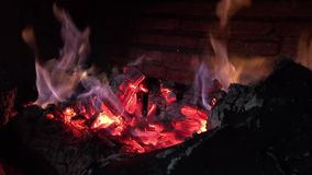 View of the fireplace. For heat stock video footage
