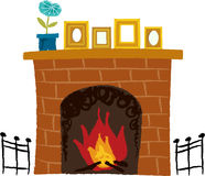 The view of fireplace. In the house Stock Photos