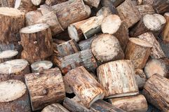 View of firewood logs in a stack Royalty Free Stock Images