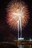 View with fireworks on the Danube river Stock Image