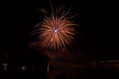 View of Fireworks on garda lake Stock Photos