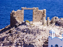 View of Firopotamos village at Milos island, Cyclades, Greece. Royalty Free Stock Photography