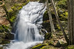 A View of the First Waterfall at the Base Crabtree Falls. Located in the Blue Ridge Mountains, George Washington National Forest, Nelson County, Virginia, USA Stock Image