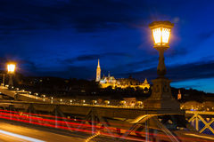 View of Fisherman's Bastion from chain bridge Budapest Royalty Free Stock Photo