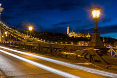 View of Fisherman's Bastion from chain bridge Budapest Stock Photo