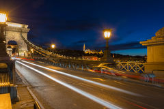 View of Fisherman's Bastion from chain bridge Budapest Stock Photography