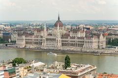 Top view on a Parliament and Buda and Pest banks from Fisherman`. View from Fisherman`s Bastion, located at the heart of Buda`s Castle District, on a Parliament royalty free stock image