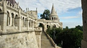 View of Fisherman`s Bastion wall in the morning, Castle hill in Buda, beautiful architecture, sunny day, Budapest royalty free stock photography