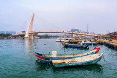 View of fisherman`s wharf in Tamsui Royalty Free Stock Photography