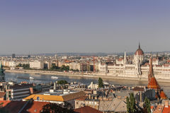 View from the Fishermen's Bastion in Budapest, Hungary. The view of the Parliament Building and the river Danube as seen from the Fishermen's Bastion in the Buda Stock Images