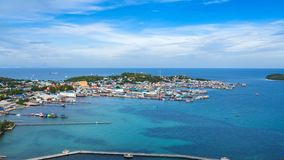 A view of Fishermen`s boats and jetty at fishermen village. Stock Photos