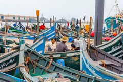 View of fishing blue boats in Morocco port. Agadir royalty free stock photo