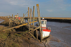 A view of fishing boat on Thornham Marsh, North Norfolk. Royalty Free Stock Photography