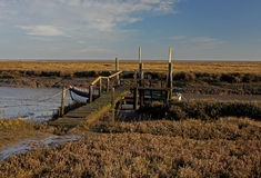 A view of fishing boat on Thornham Marsh, North Norfolk. Royalty Free Stock Images
