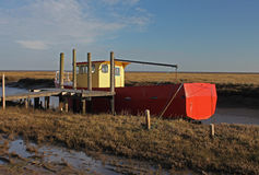 A view of fishing boat on Thornham Marsh, North Norfolk. Stock Images