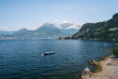 A view of the  fishing boat, Varenna on Como lake in Italy Stock Image