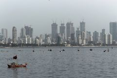 View of fishing boats in the Arabian Sea royalty free stock photography