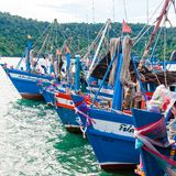 View of fishing boats at Baan AoYai Salad port and fishing village, Thailand Stock Photo