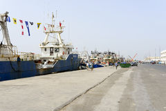 View of fishing boats in Essaouira port Royalty Free Stock Photography