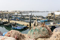 View of fishing boats in Essaouira port Stock Images
