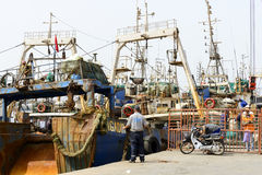 View of fishing boats in Essaouira port Royalty Free Stock Photos