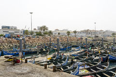 View of fishing boats in Essaouira port Royalty Free Stock Images