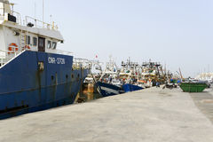 View of fishing boats in Essaouira port Stock Image