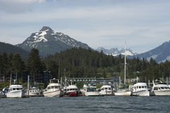 View of Fishing Boats Harbor Alaska Inside Passage royalty free stock photo