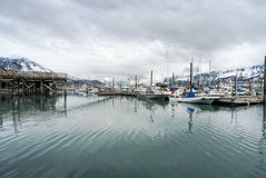 View of fishing boats moored at the port of Seward Stock Photo