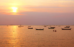 Fishing boats with sunset Stock Photography