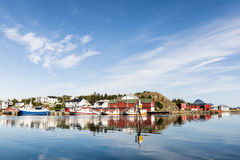 View of the fishing harbor in the Lofoten. Archipelago Stock Image