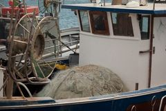 A view of fishing nets inside of the boat stock image