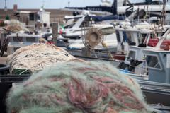 A view of fishing nets inside of the boat royalty free stock images