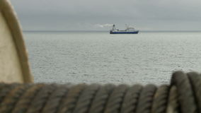 View from the fishing trawler on other ships stock footage